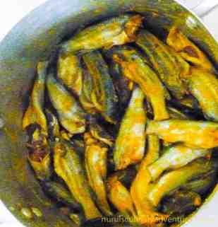 tengra mas, small bengali fish in turmeric powder