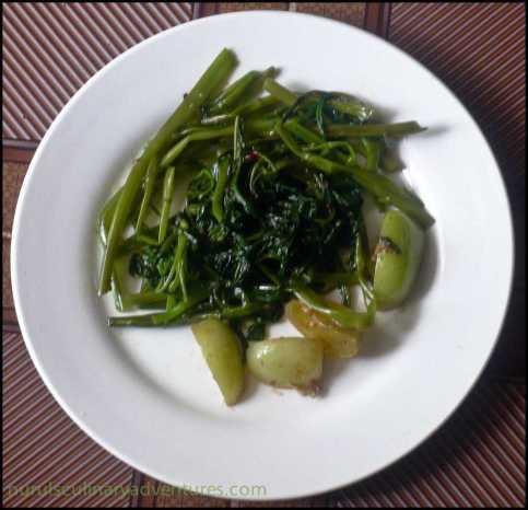 water spinach, stirfry kangkung terasi